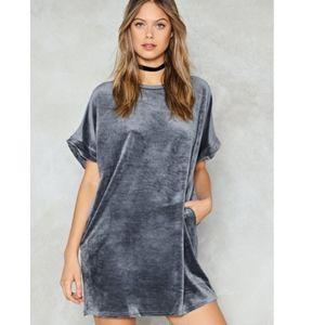 NastyGal Velvet T-Shirt Dress